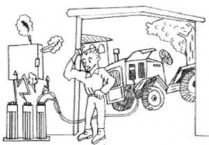 hombre y tractor