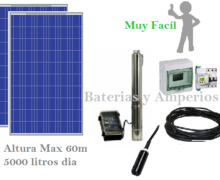 kit Bombeo solar 60m 5000 litros