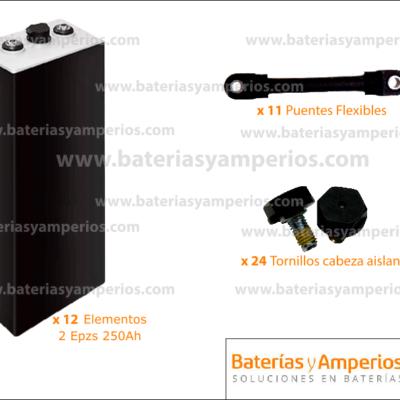 bateria traspalet 24v 250ah sin cofre