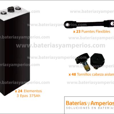 kit bateria empilhadeira 48v 375ah sem baú