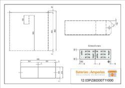 plano cofre y conexiones bateria para transpaleta eléctrica 24v3pzb300