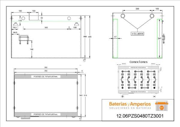 plano bateria carretilla elevadora 24v 480ah