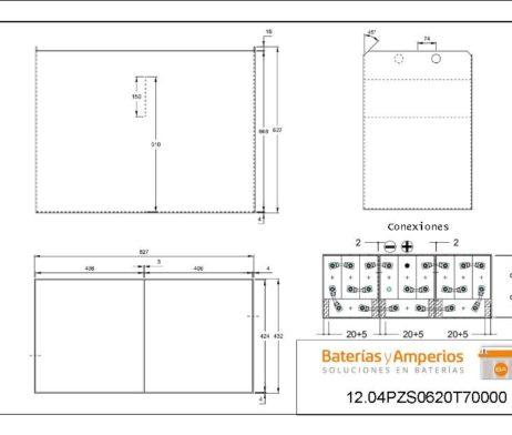 plano bateria traccion para carretilla recogepedidos 24v 620ah