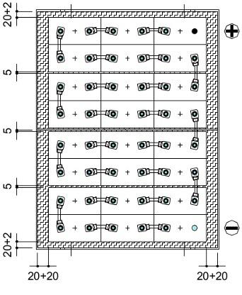 plano conexiones bateria tracción 36v 805ah para carretillas elevadoras eléctricas