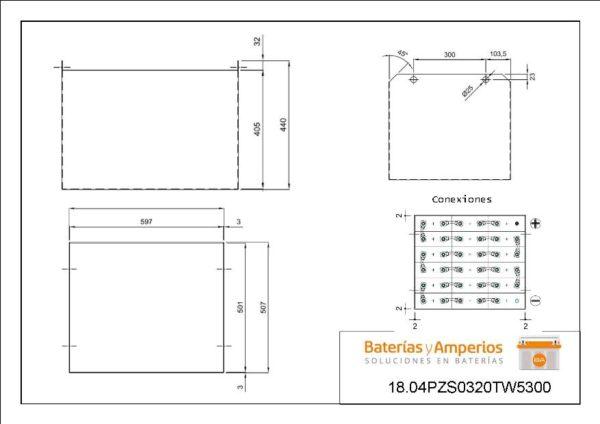 plano bateria traccion 36v 320ah para fregadoras